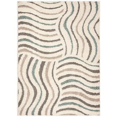 Gruver Shag Cream/Brown Area Rug Rug Size: Round 67