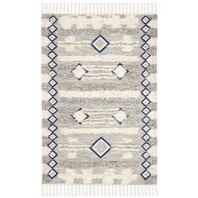 Cedar Drive Hand-Knotted Gray/Ivory Area Rug Rug Size: Rectangle 9 x 12