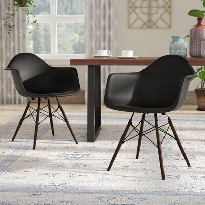 Harrison Contemporary Solid Wood Dining Chair Finish: Black