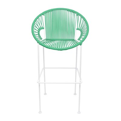 Cobblestone 26 Patio Bar Stool Base Finish: White, Upholstery: Seafoam