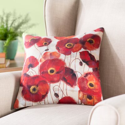 Claudine Poppies Throw Pillow Size: 20 H x 20 W x 5 D
