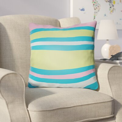 Colinda Striped Indoor Throw Pillow Size: 18 H x 18 W x 4 D, Color: Turquoise/Lime