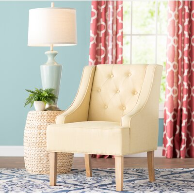 Gebhardt Tufted Swoop Armchair Finish: White Washed, Upholstery: Soft Yellow