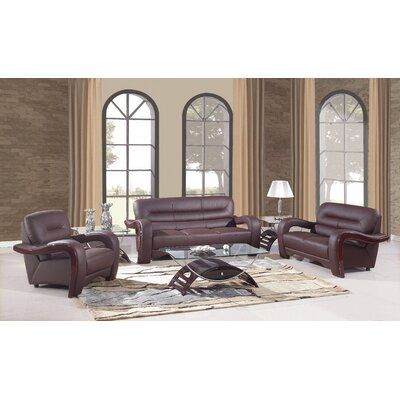 Trower Upholstered 3 Piece Living Room Set Upholstery: Brown