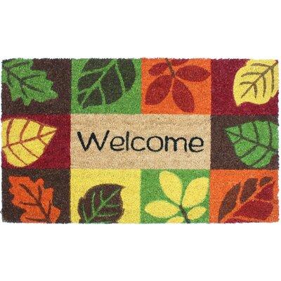 Cotner Welcome Leaves Vinyl Back Coco Doormat
