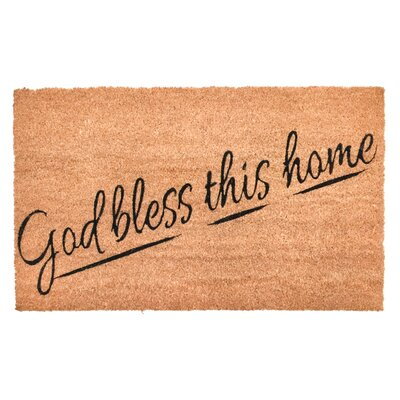 Trower God Bless This Home Vinyl Back Coco Doormat