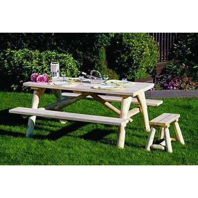 Olvera Log Wooden Picnic Table Additional Benches 777 Product Pic