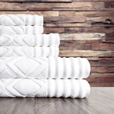 Textured 6 Piece Towel Set Color: White