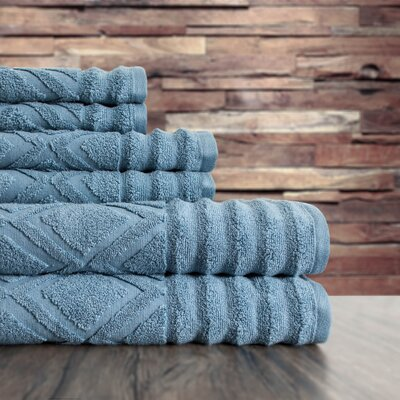 Textured 6 Piece Towel Set Color: Citadel Blue