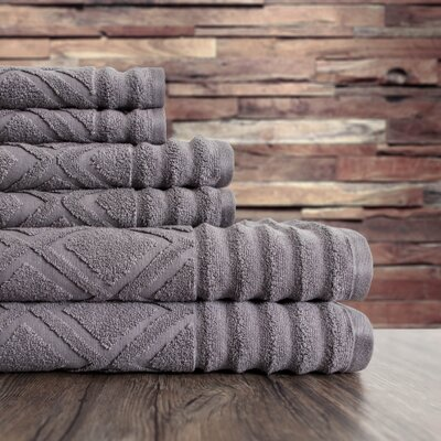 Textured 6 Piece Towel Set Color: Gray Flannel
