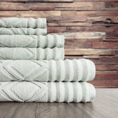 Textured 6 Piece Towel Set Color: Silver Sage