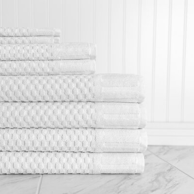 Luxe Textured 8 Piece Towel Set Color: White