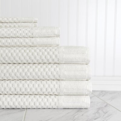 Luxe Textured 8 Piece Towel Set Color: Ivory