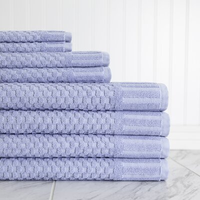 Luxe Textured 8 Piece Towel Set Color: Blue