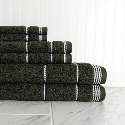 6 Piece Towel Set Color: Hunter Green