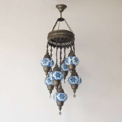 Ellzey 7-Light LED Cluster Pendant Shade Color: Blue