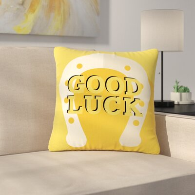 Lucky Horseshoe Typography Outdoor Throw Pillow Size: 18 H x 18 W x 5 D