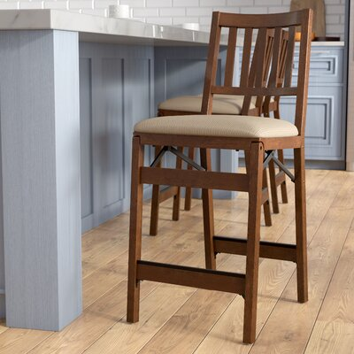 Emington Folding Barstools Finish: Brown