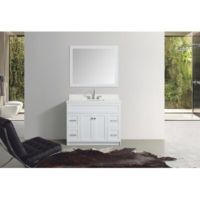 Truesdale 43 Single Bathroom Vanity With Mirror Base Finish: White