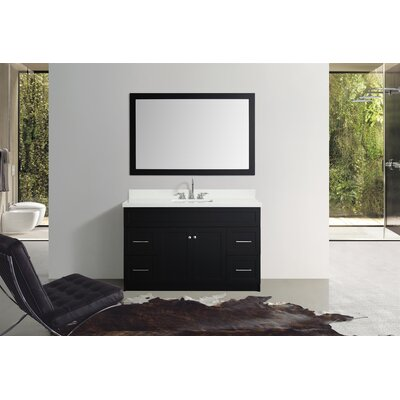 Truesdale 55 Single Bathroom Vanity With Mirror Base Finish: Black