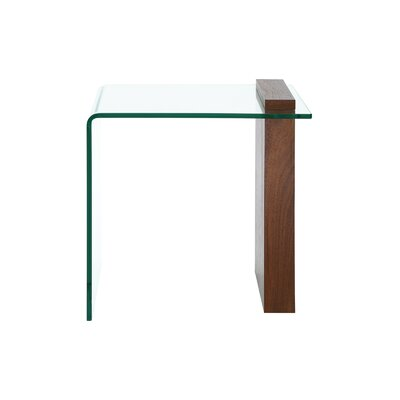 Gulley Glass End Table Table Base Color: Walnut Veneer