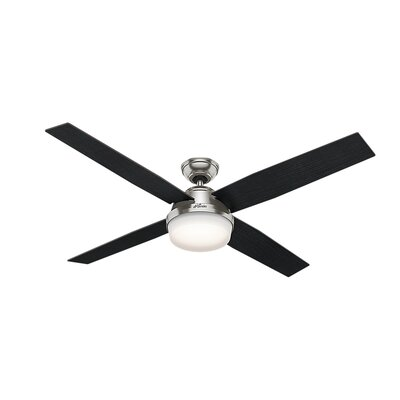 60 Dempsey 4 Blade LED Ceiling Fan with Remote Finish: Brushed Nickel with Black/Chocolate Oak Blades