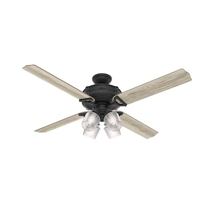 52 Brunswick Wi-Fi 4 Blade LED Ceiling Fan with Remote Finish: Natural Iron with Gray Oak/Aged Oak Blades