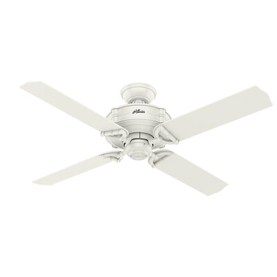 52 Brunswick 4 Blade Outdoor Ceiling Fan with Remote Finish: Fresh White with Fresh White/Gray Oak Blades