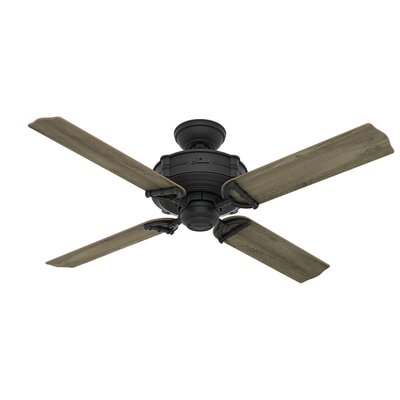 52 Brunswick 4 Blade Outdoor Ceiling Fan with Remote Finish: Natural Iron with Gray Pine/Light Oak Blades