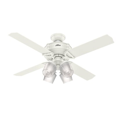 52 Brunswick Wi-Fi 4 Blade LED Ceiling Fan with Remote Finish: Fresh White with Fresh White/Gray Oak Blades