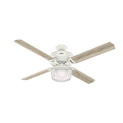 60 Brunswick Wi-Fi 4 Blade LED Ceiling Fan with Remote Finish: Fresh White with Gray Oak Blades