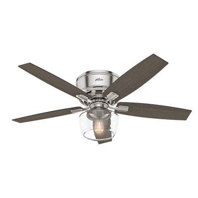 52 Bennett 5 Blade LED Ceiling Fan with Remote Finish: Brushed Nickel with Gray Walnut/Gray Oak Blades