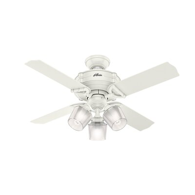 44 Brunswick 4 Blade LED Ceiling Fan with Remote Finish: Fresh White with Gray Oak