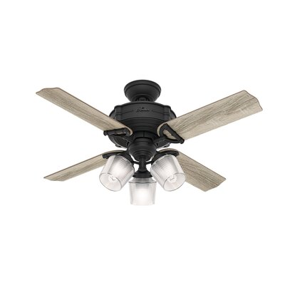 44 Brunswick 4 Blade LED Ceiling Fan with Remote Finish: Gray Oak with Aged Oak