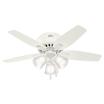 42 Newsome Low Profile 5 Blade Ceiling Finish: Fresh White with White/Light Oak Blades
