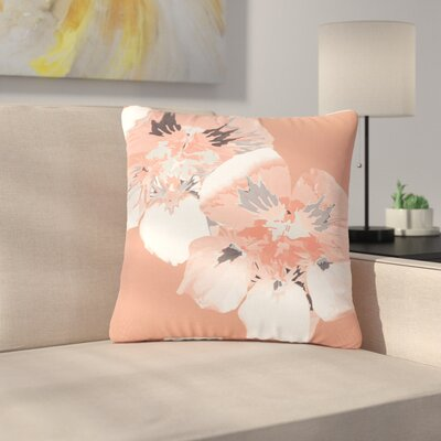 Love Midge Graphic Flower Nasturtium Floral Outdoor Throw Pillow Size: 18 H x 18 W x 5 D, Color: Pink