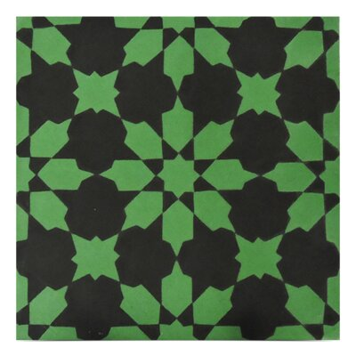 Ahfir Handmade 8 x 8 Cement Field Tile in Green/Black