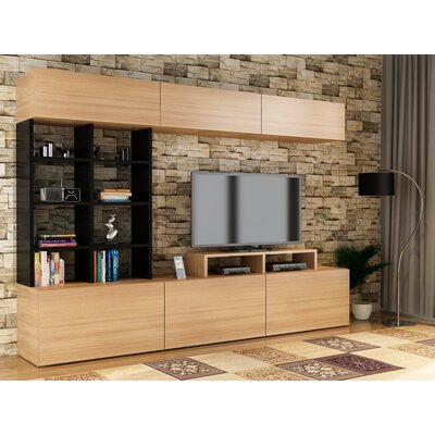 Collinton 71 Entertainment Center Color: Teak/Black
