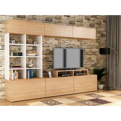 Collinton 71 Entertainment Center Color: Teak/White
