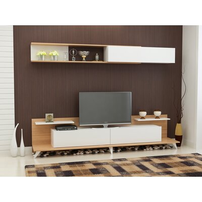 Groce 94 Entertainment Center Color: Teak/White