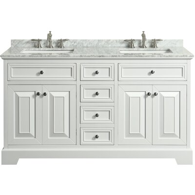 Hankins 60 Double Bathroom Vanity Set Base Finish: White