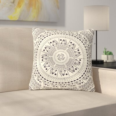 Famenxt Swadesi Boho Mandala Illustration Outdoor Throw Pillow Size: 18 H x 18 W x 5 D, Color: Beige