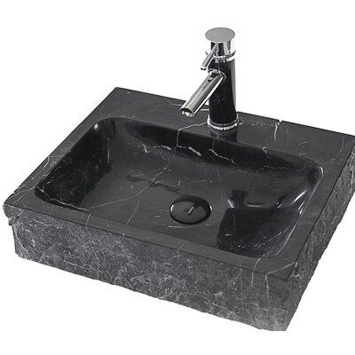 Stonie Stone Rectangular Vessel Bathroom Sink Sink Finish: Black