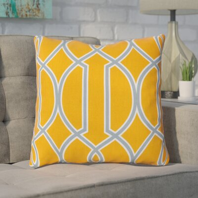 Georgios Intersecting Lines Throw Pillow Size: 18 H x 18 W x 4 D, Color: Tangerine / Foggy Blue / White, Filler: Polyester