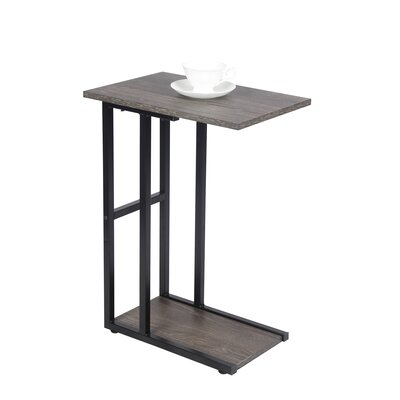 Van Nest C Shape End Table Table Base Color: Black, Table Top Color: Gray Ash