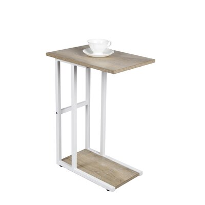 Van Nest C Shape End Table Table Base Color: White, Table Top Color: Ash