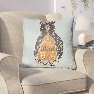 Colindale Bear Throw Pillow Size: 20 H x 20 W x 4 D, Color: Light Blue