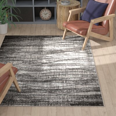 Iris Waves Gray Area Rug Rug Size: 53 x 72