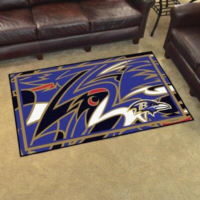 NFL Red Area Rug Team: Baltimore Ravens
