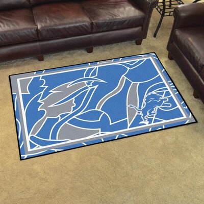 NFL Red Area Rug Team: Detroit Lions